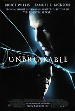 Unbreakable 2000 Original Ds 2 Sided 27x40 Movie Poster Bruce Willis Sam Jackson