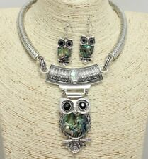 Silver and Abalone Colored FASHION Owl Necklace Set