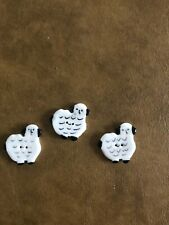 VINTAGE BUTTONS Porcelain SHEEP 1 1/2 Inch BLACK/WHITE