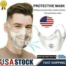 2 Pcs Clear Crystal Face Mask Cover 3d Durable Shield Reusable Transparent USA