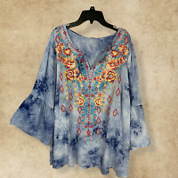 PLUS SIZE ANDREE BY UNIT EMBROIDERED 3/4 SLEEVE TIE DYE BOHO TUNIC TOP 1X 2X 3X