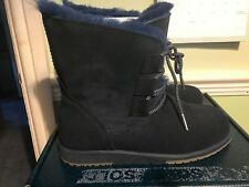 Emu Beach Collection Illawong Lace Up Sheepskin & Suede Boots Size 6 Midnight