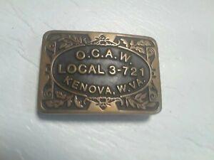 1982 Oil Chemical Atomic Workers ACAW Union Brass Belt Buckle Kenova WV