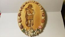 HAND PAINTED PIRATE WITH PARROT SEASHELLS WOOD PLAQUE - 1 OF A KIND - 1999