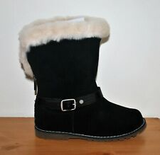 UGG Girls' T Nessa Black Suede Leather Boots - Size 11, 12