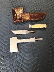 Rare Vintage Kabar knife hatchet set And Leather Sheath. USA MADE!