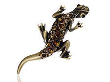 Topaz Crystal Rhinestone Southwest Gecko Lizard Adjustable Costume Jewelry Ring