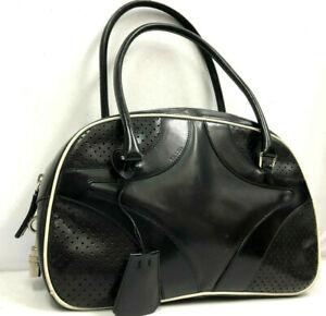 Prada Mini Boston bag Handbag Purse Black PVC Leather w/Padlock