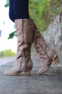 Not Rated Spiffy Tall Lace Embellished Sassy  Boots Size 9.5 (M) US Taupe Boots