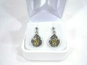 1.26ct Natural Citrine Solid Sterling Silver Filigree Drop Post Earrings
