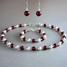 Dark wine red pearls collar necklace bracelet earrings silver wedding bridal set