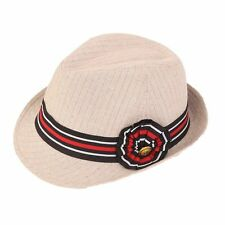 Beige Pinstripe womens Trilby with Striped Band, 57 cm, small MEDIUM, Only £9.99