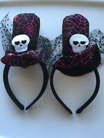 2x Kids Girl Lady Halloween Skull Hat Costume PROP Hair Headband band accessory
