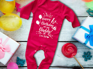 Happy 1st birthday as my Daddy red long sleeve rompersuit sleepsuit baby grow
