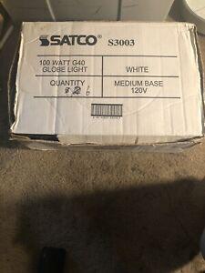 6 SATCO 100 W G40 120V Globe Light Bulbs Lamps White Medium Base S3003