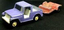 Vintage 1970's Tootsie Toys Purple Jeep & Motorcycle Trailer
