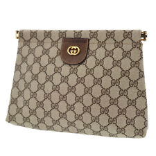 GUCCI GG Plus Clutch Bag Brown PVC Leather Vintage Italy Vintage Auth #ZZ15 W