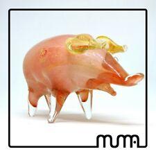 Animale vetro di Murano maiale scultura originale e firmata. Regalo Natale
