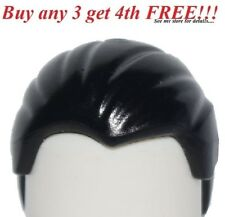 ☀️NEW Lego Minifig Hair Male Boy BLACK Combed Front to back Slick Man Minifigure