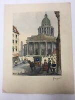 "Pierre Albert Marquet Lithograph 13x10"" Signed Art Print Paris Le Pantheon"