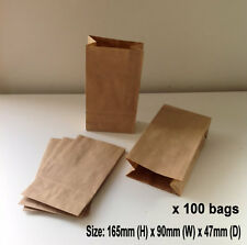 100 x Small Kraft Brown Paper Flat Bottom Bags Lolly Gift Wedding Party Favours