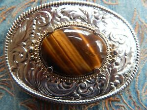 NEW HANDCRAFTED TIGERS EYE STONE BUCKLE SILVER COLOUR METAL,WEDDING LADIES MEN