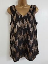 NEW Debenhams 12-20 Gold Black Sequin Sparkly Foil Tunic Top Blouse Xmas Party