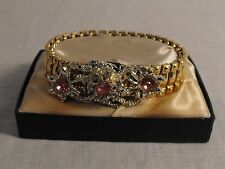 ELEGANT GOLDTONE STRETCH BRACELET PINK AND CLEAR RHINESTONES BRITISH HONG KONG