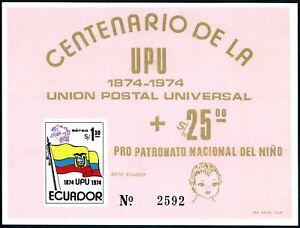 Ecuador C534,C534a,C534b,2 souv.sheets,MNH.Michel 1629,Bl.66-67. UPU-100.1974