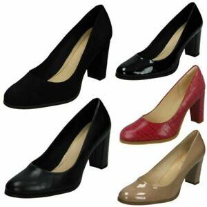 Ladies Clarks Smart Block Heeled Court Shoes 'Kaylin Cara'