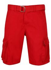 Mens Shorts Cargo 100% Cotton Combat Red Chino New Knee Length Belted Ex Store