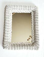 "White Wicker Rectanglar Wall Mirror 16"" X 12"" Shabby Chic Vintage Look"