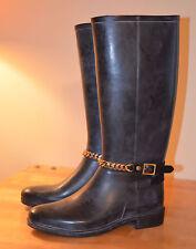 BURBERRY Black Rubber Rain Riding Boots Rainboots Wellies Wmn's EU 38 US 8
