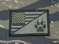 US FLAG K9 Paw Subdued OD Green Military Tactical Morale Patch Tracker Unit 2x3