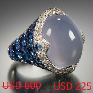 925 Silver Ring Blue Cabochon Chalcedony Stone White And Blue Sapphire High-end