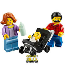 LEGO Family - Mum, Dad, and Baby in pram - from City Park set 60134 NEW