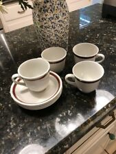 Set of 8 Pieces Steelite International Cups and Saucers - White w/brown