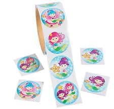 "Mermaid Roll of Stickers (100 Stickers) 1 1/2"" diam."