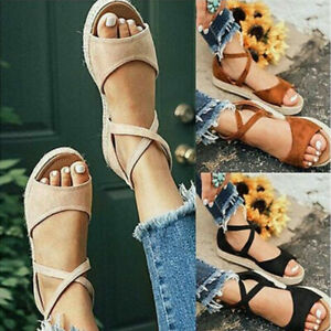 Ladies Womens Flats Straps Ankles Summer Casual Espadrilles Sandals Shoes Size