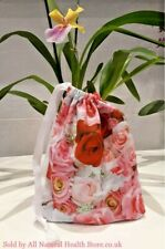 Rose Pink, white, Red Floral Valentines day drawstring White ribbon Gift bag
