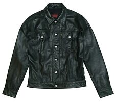 LEVI'S THE TRUCKER LEATHER JACKET - LEVIS - BLACK TAB BIG E - SAMPLE - M MEDIUM