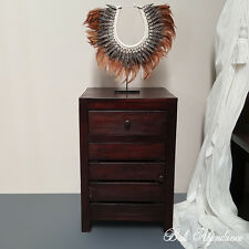 Balinese Hand Carved MAXI Teak Walnut Bedside Cupboard Lamp Side Table