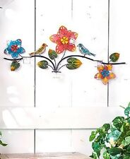 Tealight Candle Holder Wall Art Floral Metal Colorful Birds and Flowers