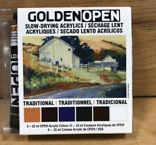 Golden Open Slow Drying Acrylics 6 Tubes 22ml Acrylic Paint Traditional Colors
