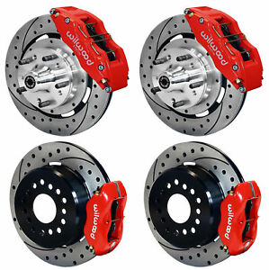 "WILWOOD DISC BRAKE KIT,64-72 CHEVELLE,6/4 PISTON RED CALIPERS,12"" DRILLED ROTORS"