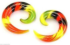 "PAIR-Tapers Spiral Pyrex Glass Rasta 12mm/1/2"" Gauge Body Jewelry"