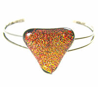 "Cuff Bracelet ADJUSTABLE Dichroic Fused Glass Copper Orange Triangle 1"" 25mm"