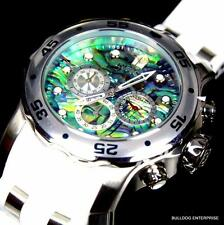 Invicta 48mm Pro Diver Scuba Abalone White Silver Tone Chronograph Watch New