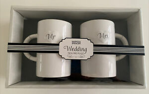 New In Box Marks and Spencer MR & MRS mugs Ideal For Wedding Or Anniversary Gift