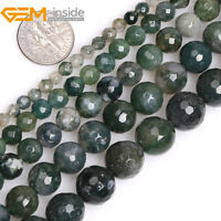 """Natural Gemstone Green Moss Agate Round Loose Beads For Jewellery Making 15""""UK"""
